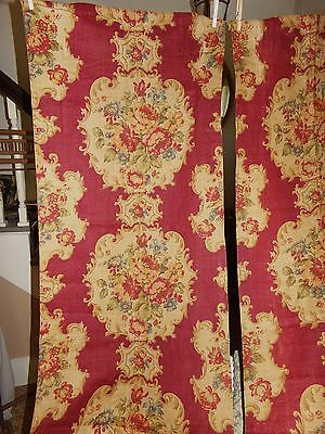 """2 Antique Victorian Late 19th C Printed Linen Curtain Panels Fabric 22"""" X 91"""""""