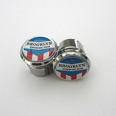 Vintage, Retro, Brooklyn Team, Chrome Racing Bar Plugs, Caps, Repro