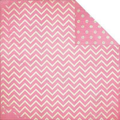 Bo Bunny (1) 12X12 Double Dot Collection Chevron Passion Fruit Cardstock