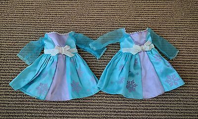 "Disney Frozen Princess Elsa 14"" Toddler Doll Replacement Dress Lot of 2"