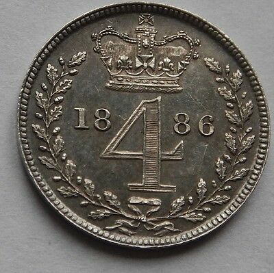 Maundy Fourpence Groat Victoria 1886
