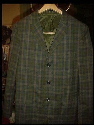 "Vintage 1960's Boys Green Checked SUIT JACKET Coat "" Chest Nerd Rat Pack"