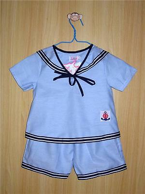 BABY BOYS SAILOR OUTFIT Light Blue Wedding Christening Casual Wear Pyjama Cotton