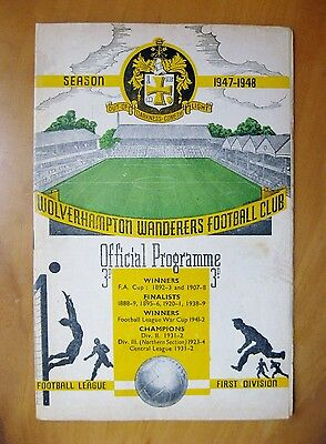 WOLVES v CHARLTON ATHLETIC 1947/1948 *Good Condition Football Programme*