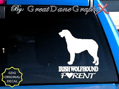 Irish Wolfhound PARENT(S) - Vinyl Decal Sticker / Color Choice - HIGH QUALITY