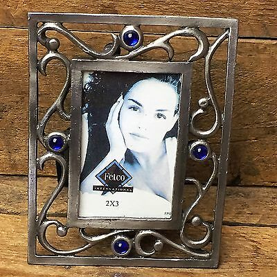 "Fetco Silver Scroll with Blue Gems Picture Frame holds 2"" x 3"" photo"