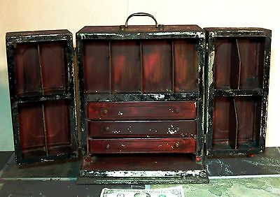 Antique vtg 19th Cen TIN Tole Doctor's APOTHECARY CHEST Tool Box Medical Cabinet