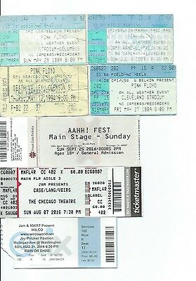 (7) Ticket Stubs + Vip - Artist - Press Passes Pink Floyd Common Pitchfork Riot