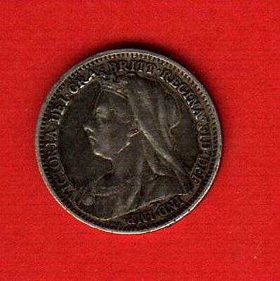 1898 Great Britain 3 Pence Silver Nice Toning