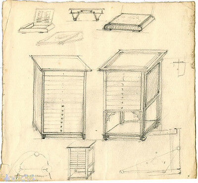 CHEST OF DRAWERS Vintage drawing by unknown Russian artist