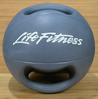 LIFE FITNESS Gray 8 Pound (8 lb)  Exercise Cross Fit Medicine DOUBLE GRIP BALL