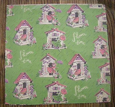 Vintage 1940's Wedding or Baby Shower Gift Wrap Paper Girl in House w Parasol