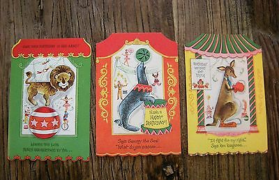 Unused Vtg 1950's Lot Juvenile Birthday Cards Circus Animals Punch Out Activity