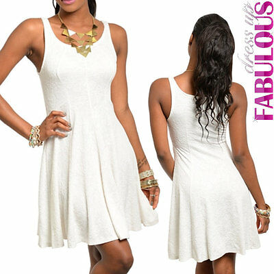 New Sleeveless Skater Dress Knee-Length Party Evening Casual Size 6 8 10 XS S M