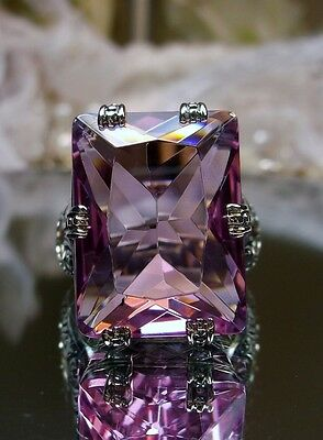 30ct Big*Pink Topaz* Art Deco Sterling Silver Filigree Ring Size [Made To Order]