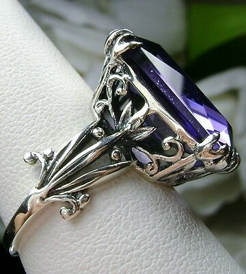 13ct *Purple Amethyst* Sterling Silver Floral Love Filigree Ring Size: Any/MTO
