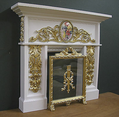1:6 scale ~ CARVED  FIREPLACE &  SCREEN ~ for  Barbie ~ Floral ~ SALE !