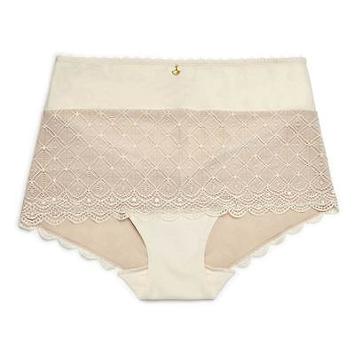 New Lace Cotton Boyleg Brief Undies Pant Black,cream Size 8,10,12,14,16,18,20,22