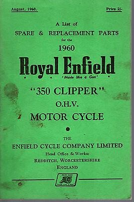 Spare Parts List Royal Enfield 350 Clipper OHV Motor Cycle 1960 27529
