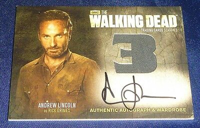(#2) THE WALKING DEAD S3 Autograph Wardrobe AM9 Andrew LINCOLN Rick GRIMES Card