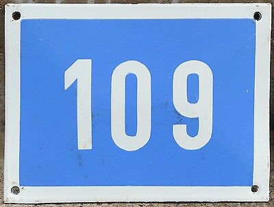 Big blue French house number 109 door gate plate plaque enamel steel metal sign