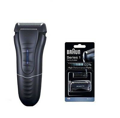 Braun 130 Mens Mains Powered Shaver Water Washable + 11B Cutter Foil Cassette