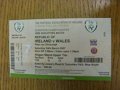 24/03/2007 Ticket: Republic Of Ireland v Wales [At Croke Park] . Thanks for view