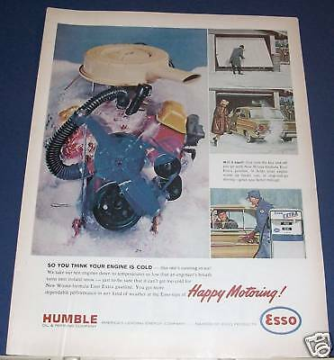 1964 Humble Oil Esso Extra gasoline cold engine Ad