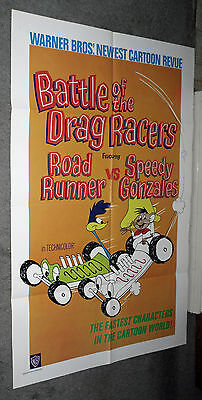 BATTLE OF THE DRAG RACERS orig 1966 cartoon one sheet movie poster ROAD RUNNER