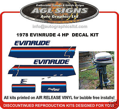1978 Evinrude 4 Hp Outboard  Decal Kit , Reproductions