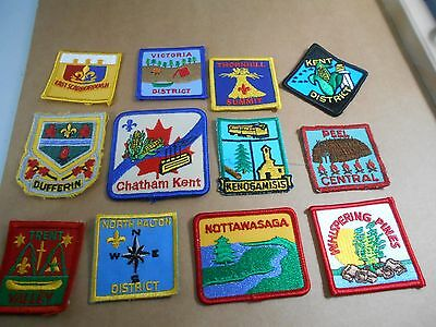 (Rm8-R)  Twelve Listed Ontario Scout Badges  Unused    Canadian Scout Badges