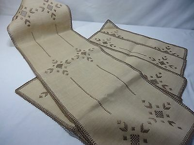 VTG Tan Linen Taupe Embroidery Runner & Placemats Geometric Arts Crafts Style