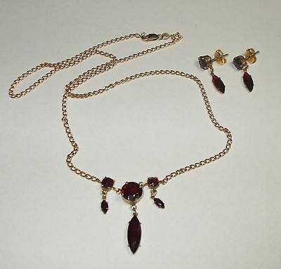 Vintage Solid 10K Yellow Gold Bib Chain Necklace Set Post Dangle Garnet Earrings