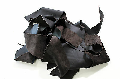 Leather Craft leftovers offcuts Cowhide brown dark - pieces