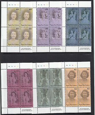 Papua New Guinea 2003 Coronation set of 6 stamps in blocks of 4. MUH/MNH.Cheap