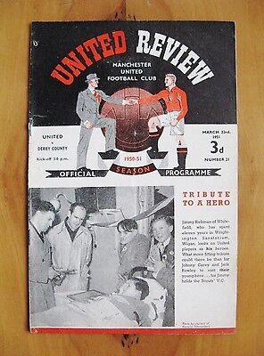 MANCHESTER UNITED v DERBY COUNTY 1950/1951 *VG Condition Football Programme*