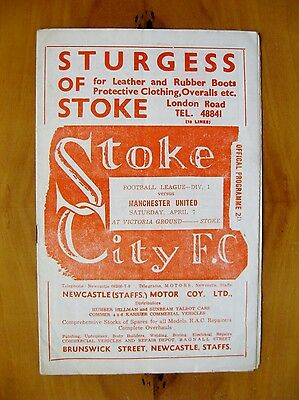 STOKE CITY v MANCHESTER UNITED 1950/1951 Excellent Condition Football Programme