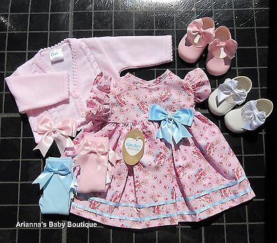 Baby Girls Kinder Boutique Pink Cupcake / blue teacup Dress 0-18 month (Spanish)