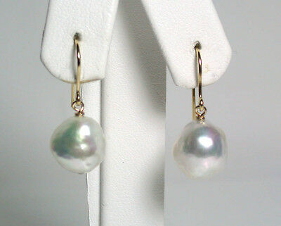10x11mm AA++ quality baroque South Sea saltwater pearl & 9 carat gold earrings
