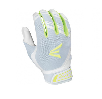 Easton HF7 Hyperskin Fastpitch Women's Batting Gloves NEW White/Optic Yellow LRG