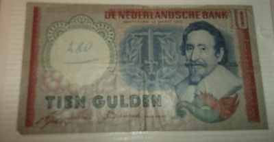 10 GULDEN NETHERLAND BANK NOTE 1950s??, GOOD CONDITION, See pictures R#DM005