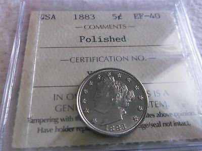 Usa 5 Cents 1883 Without Cents Pro-Graded Iccs Ms-63    Z200