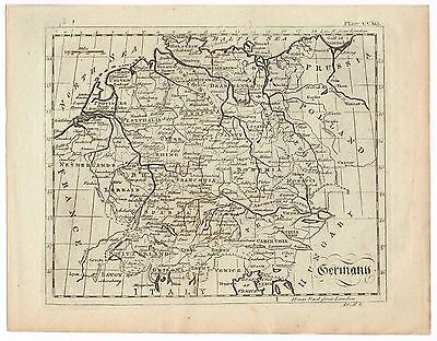 Original Antique Print Vintage 1798 Copper Plate Map Of Germany Very Clean