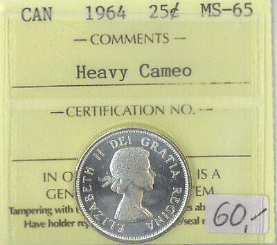 1964 Canada 25 Cents Silver Quarter MS-65 ICCS Certified Heavy Cameo XTG 859