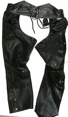 Wilson Black Leather Motorcycle Chaps Men/Women XL Extra Large