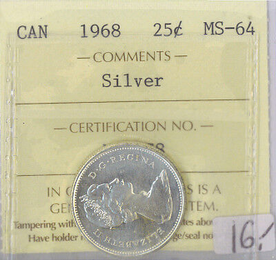1968 Canada 25 Cents Silver Quarter MS-64 ICCS Certified ME 178