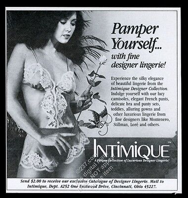 1982 Intimique lingerie woman in lacy bra panty photo vintage print ad