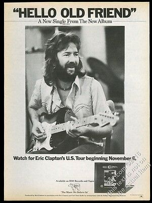 1976 Eric Clapton photo Hello Old Friend song release music trade print ad