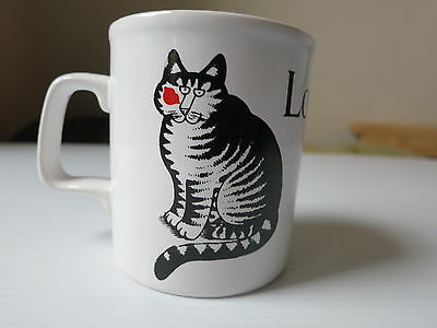 Vintage B KLIBAN 'Love A Cat' Coffee Mug Black White Striped Kiln Craft England