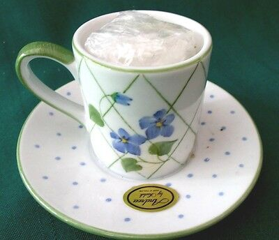 Andrea by Sadek demitasse size cup with attached saucer & votive candle -violets